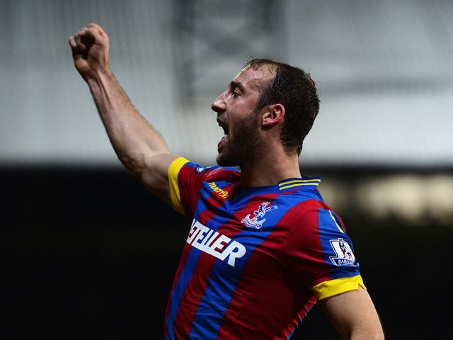 Glenn Murray of Crystal Palace celebrates scoring the opening goal during the Barclays Premier League match between Crystal Palace and Manchester City at Selhurst Park on April 6, 2015