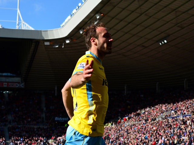Glenn Murray of Crystal Palace celebrates after scoring in the second half during the Barclays Premier League match between Sunderland and Crystal Palace at Stadium of Light on April 11, 2015