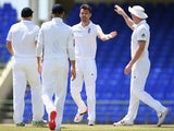 James Anderson of England celebrates taking the wicket of Sherwin Peters of St Kitts and Nevis Invitational XI during the St Kitts and Nevis Invitational XI versus England tour match on April 6, 2015