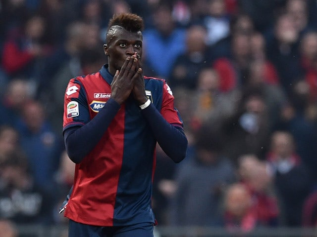 M'Baye Niang of Genoa CFC celebrates the opening goal during the Serie A match between Genoa CFC and Cagliari Calcio at Stadio Luigi Ferraris on April 11, 2015