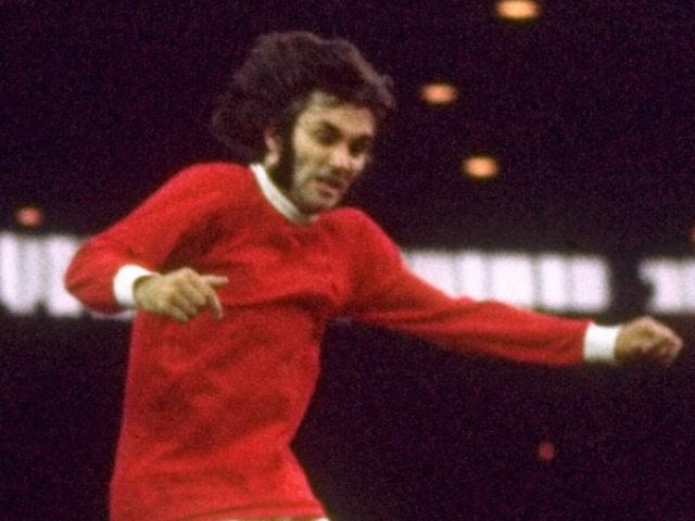 George Best of Manchester United in action during the Division One match against Everton in 1968