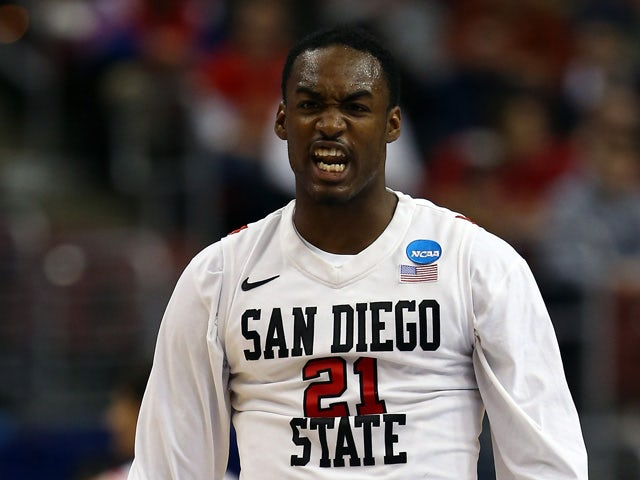 Jamaal Franklin #21 of the San Diego State Aztecs reacts against the Oklahoma Sooners during the second round of the 2013 NCAA Men's Basketball Tournament at Wells Fargo Center on March 22, 2013