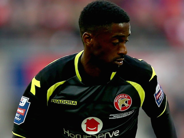 Jordy Hiwula of Walsall during the Johnstone's Paint Trophy Final between Bristol City and Walsall at Wembley Stadium on March 22, 2015