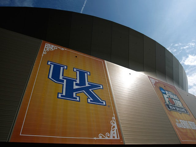 A general view of the Kentucky Wildcats logo on the exterior of the Mercedes-Benz Superdome during practice prior to the 2012 Final Four of the NCAA Division I Men's Basketball Tournament on March 30, 2012