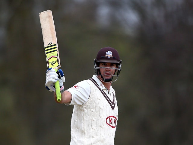 Kevin Pietersen of Surrey celebrates his 150 during day one of the friendly match between Oxford MCCU and Surrey at The Parks, on April 12, 2015