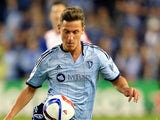 Krisztian Nemeth #9 of Sporting KC controls the ball during the game at Sporting Park on March 8, 2015