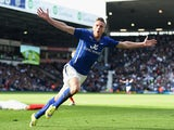 Jamie Vardy of Leicester City celebrates scoring their third goal during the Barclays Premier League match between West Bromwich Albion and Leicester City at The Hawthorns on April 11, 2015