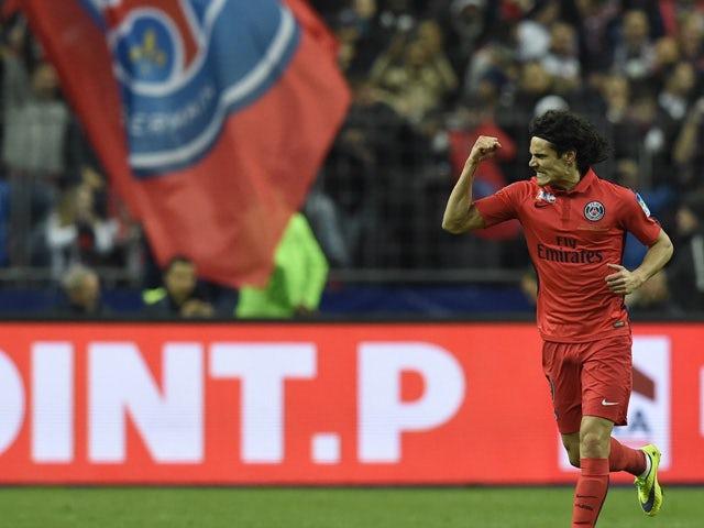Paris Saint-Germain's Uruguayan forward Edinson Cavani celebrates after scoring a goal during the French League Cup final football match Bastia (SCB) vs Paris Saint-Germain, on April 11, 2015