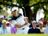 Rory McIlroy of Northern Ireland watches his tee shot on the fourth hole during the first round of the 2015 Masters Tournament at Augusta National Golf Club on April 9, 2015
