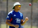Tymal Mills of England during a nets session at Floreat Oval on October 29, 2013