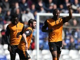 Benik Afobe of Wolverhampton Wanderers celebrates scoring the opening goal during the Sky Bet Championship match between Birmingham City and Wolverhampton Wanderers at St Andrews on April 11, 2015