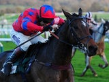 Balthazar King ridden by Richard Johnson goes on to win The Glenfarclas Cross Country Steeple Chase at Cheltenham Racecourse on November 14, 2014