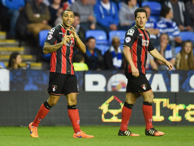 Callum Wilson of Bournemouth celebrates as he scores their firat goal during the Sky Bet Championship match between Reading and AFC Bournemouth at Madejski Stadium on April 14, 2015