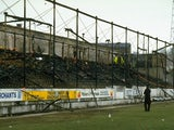 A general view of the burnt out stands in the wake of the disaster at the Bradford City ground Valley Parade on May 11, 1985