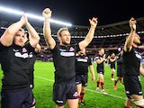 Edinburgh Rugby players Andries Strauss and Neil Cochrane applauding the crowd after they won their Semi Final match against Newport Gwent Dragons during the European Rugby Challenge Cup Semi Final match between Edinburgh Rugby and Newport Gwent Dragons a
