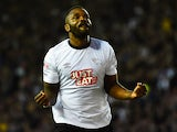 Darren Bent of Derby County celebrates as he scores their third goal during the Sky Bet Championship match between Derby County and Blackpool at iPro Stadium on April 14, 2015