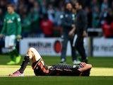 Hamburg's defender Heiko Westermann reacts after the German first division Bundesliga football match SV Werder Bremen vs Hamburger SV in Bremen, northern Germany, on April 19, 2015
