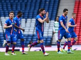 Graeme Shinnie, of Inverness Caledonian Thistle celebrates Greg Tansey's goal in the second half during the William Hill Scottish Cup Semi Final match between Inverness Caledonian Thistle and Celtic at Hamden Park on April 19, 2015