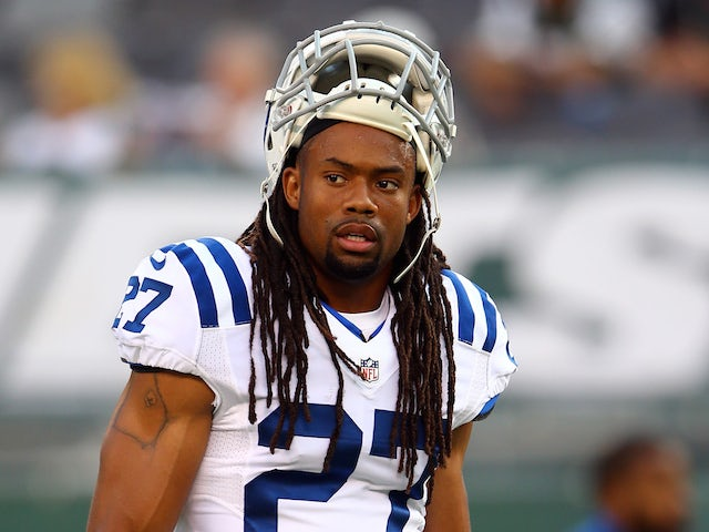 Defensive back Josh Gordy #27 of the Indianapolis Colts looks on prior to a preseason game against the New York Jets at MetLife Stadium on August 7, 2014