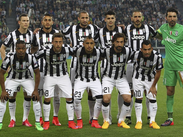 Juventus FC team line up before the UEFA Champions League Quarter Final First Leg match between Juventus and AS Monaco FC at Juventus Arena on April 14, 2015