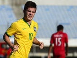 Brazil's midfielder Nathan celebrates his goal against Peru during their South American U-20 football match at Centenario stadium in Montevideo on February 4, 2015