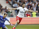 Paris Saint-Germain's Argentinian midfielder Javier Pastore celebrates after scoring a goal during the French L1 football match Nice (OGC Nice) vs Paris Saint-Germain (PSG) on April 18, 2015