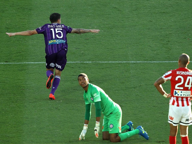 Jamie Maclaren of Perth Glory celebrates after scoring a goal during the round 26 A-League match between the Perth Glory and Melbourne City FC at nib Stadium on April 19, 2015