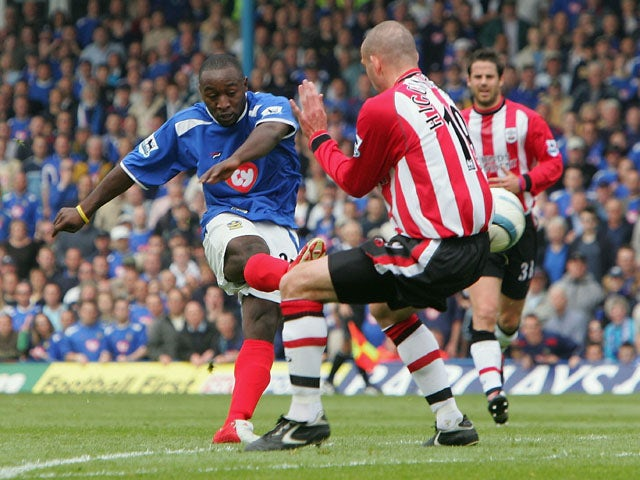 Lomana LuaLua of Southampton curls in his second goal during the Barclays Premiership match between Portsmouth and Southampton at Fratton Park on April 24, 2005