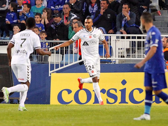 Reims' French forward David Ngog celebrates after scoring a goal during the French L1 football match between Bastia (SCB) and Reims (SR) in the Armand Cesari stadium in Bastia, French Mediterranean island of Corsica, on April18, 2015