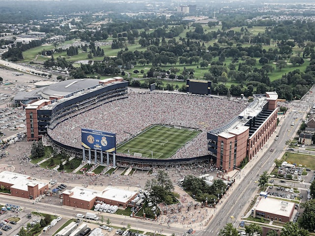 An aerial view of Michigan Stadium during the Guinness International Champions Cup match between Real Madrid and Manchester United at Michigan Stadium on August 2, 2014