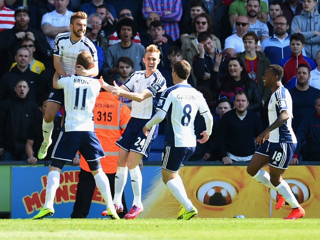James Morrison of West Bromwich Albion celebrates with team mates as he scores their goal during the Barclays Premier League match between Crystal Palace and West Bromwich Albion at Selhurst Park on April 18, 2015