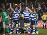 Dave Attwood of Bath celebrates after Sam Burgess scores the bonus point try during the Aviva Premiership match between Bath and London Irish at the Recreation Ground on April 24, 2015