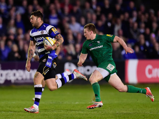 Bath player Matt Banahan makes a break during the Aviva Premiership match between Bath Rugby and London Irish at the Recreation Ground on April 24, 2015