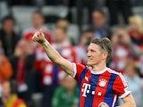 Bayern Munich's midfielder Bastian Schweinsteiger celebrates after the German first division Bundesliga football match between FC Bayern Munich and Hertha BSC Berlin at the Allianz Arena in Munich, southern Germany on April 25, 2015