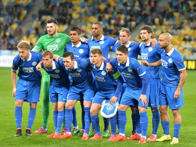Dnipro's players pose for a photo prior to the UEFA Europa League second leg quarter-final football match between FC Dnipro Dnipropetrovsk and Club Brugge KV in Kiev on April 23, 2015