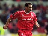 Gianluca Festa of Middlesbrough brings the ball forward during the FA Barclaycard Premiership match against Leeds United played at the Riverside Stadium on February 9, 2002