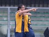 Luca Toni of Hellas Verona celebrates after scoring his team's second goal during the Serie A match between Hellas Verona FC and US Sassuolo Calcio at Stadio Marc'Antonio Bentegodi on April 26, 2015