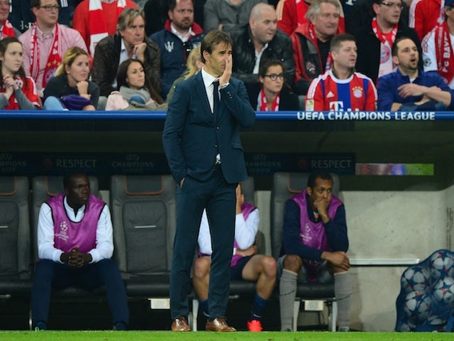 Porto's Spanish coach Julen Lopetegui reacts during the UEFA Champions League second-leg quarter-final football match Bayern Munich v FC Porto in Munich, southern Germany on April 21, 2015