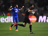 Gianluigi Buffon of Juventus celebrates after the final whistle during the UEFA Champions League quarter-final second leg match between AS Monaco FC and Juventus at Stade Louis II on April 22, 2015