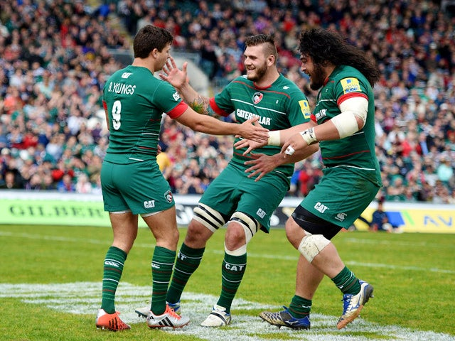 Ben Youngs of Leicester Tigers is congratulated after he goes over to score the opening try during the Aviva Premiership match between Leicester Tigers and London Welsh at Welford Road on April 25, 2015