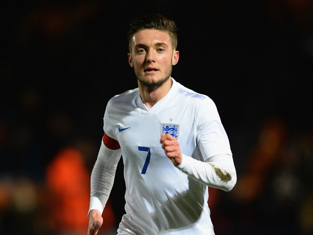 Matty Grimes of England in action during the U20 International Friendly match between England and Mexico at The Hive on March 25, 2015