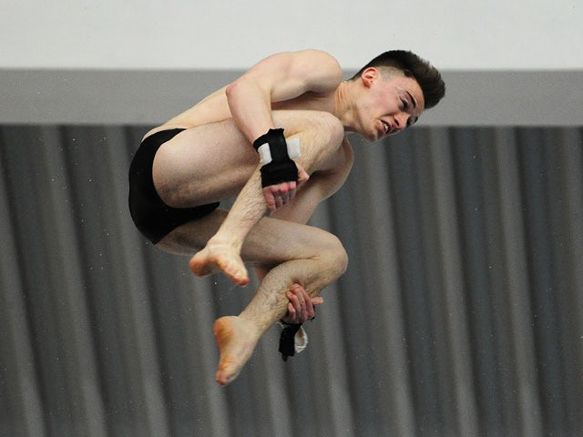Matty Lee of City of Leeds Diving Club competes in the Mens Platform Final during Day Three of the British Gas Diving Championships at the Life Centre on February 22, 2015