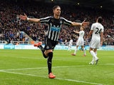Ayoze Perez of Newcastle United celebrates scoring the opening goal during the Barclays Premier League match between Newcastle United and Swansea City at St James' Park on April 25, 2015