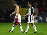 Despair for Roy Keane and Denis Irwin of Manchester United after the UEFA Champions League semi-final second leg match between Bayer Leverkusen and Manchester United played at the BayArena, in Leverkusen, Germany on April 30, 2002