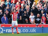 Charlie Adam of Stoke City celebrates scoring their first goal during the Barclays Premier League match between Stoke City and Sunderland at Britannia Stadium on April 25, 2015