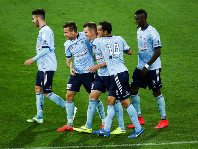 Sydney's Shane Smeltz celebrates scoring during the round 26 A-League match between the Wellington Phoenix and Sydney FC at Westpac Stadium on April 26, 2015