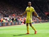 Nacer Chadli of Spurs celebrates as he scores their second goal during the Barclays Premier League match between Southampton and Tottenham Hotspur at St Mary's Stadium on April 25, 2015