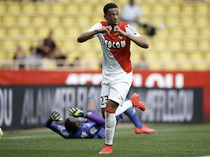 Monaco's French forward Anthony Martial celebrates after scoring a penalty during the French L1 football match between Monaco and Toulouse on May 3, 2015