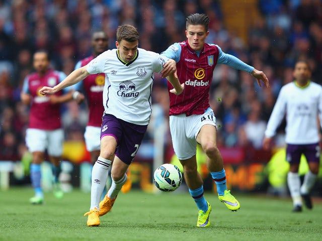 Seamus Coleman of Everton and Jack Grealish of Aston Villa compete for the ball during the Barclays Premier League match between Aston Villa and Everton at Villa Park on May 2, 2015