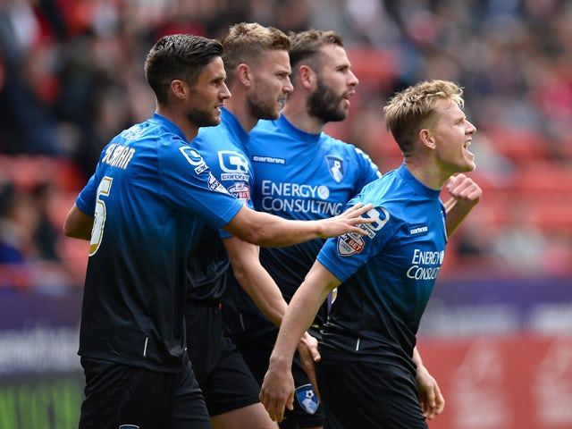 Matt Ritchie of AFC Bournemouth celebrates scoring the 1st Bournemouth goal during the Sky Bet Championship match between Charlton Athletic and AFC Bournemouth at The Valley on May 2, 2015